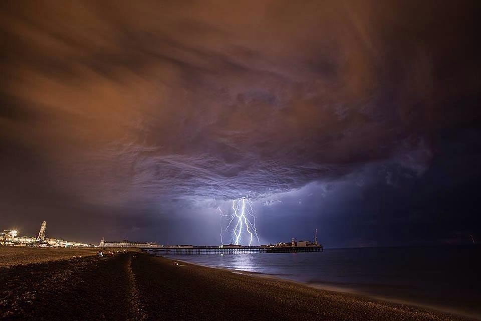 Brighton Pier Centre Lightning Storm Jpg